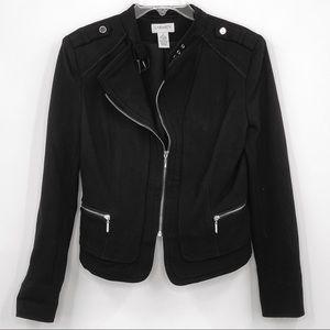 Carmen Marc Valvo Half Zip Black Knit Moto Style Jacket Sz 2